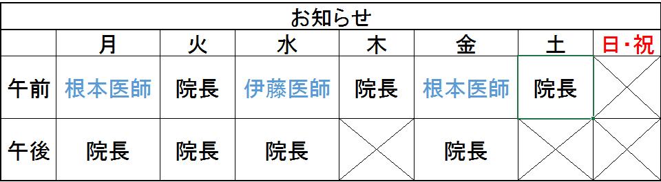 【担当医の変更のお知らせ】
